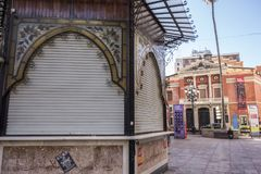 Artistic kiosk and principal theatre in square,plaza de la pax,. Castellon,Spain Royalty Free Stock Photography