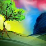 Artistic landscape background, drawn by oil and acrylic. Canvas texture stock illustration