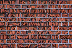 artistic library wall made of brick