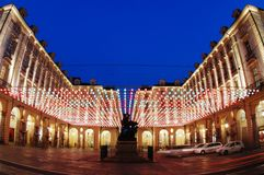 Artistic lights square, Turin Royalty Free Stock Photo