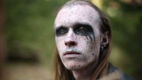 Artistic makeup for footages actors about Paganism stock video