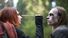 Artistic makeup for footages actors about Paganism stock video footage