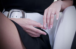 Artistic manicure on finger nails. Modern manicure on woman finger nails royalty free stock photos