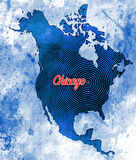 Artistic Map of Chicago, Illinois Stock Images