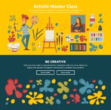 Artistic master class promotional poster with be creative slogan. Artistic master class poster with be creative slogan. Artist with mustaches holds palette and Royalty Free Stock Images