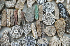 Artistic mold pieces etched in stone displayed near Gadisar Lake. In Jaisalmer, Rajasthan, India, Asia. Selective focus for DOF stock photography