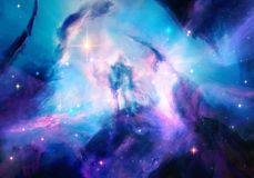 Artistic multicolored energetic nebula galaxy artwork background royalty free stock photo