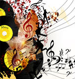 Artistic music background with vinyl record  and notes in psyche Royalty Free Stock Images