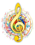 Artistic music key illustration. Colorful music elements in color circle with soft yellow/gold music key in center Stock Photography