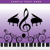 Artistic musical poster. An artistic purplish poster with a musical theme including a piano, keyboard, G-clef symbol and floral designs Royalty Free Stock Photos