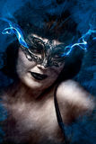 Artistic mysterious brunette woman in lingerie, blue smoke comin Stock Photo