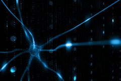 Artistic neuron cell in the brain. Abstract blue colored neuron cell in the brain on black cyber space illustration background. Selective focus used stock image