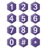 Artistic number set on ultraviolet hexagonal buttons. Hash tag and star symbole included. Buttons with 3d effect. Vector EPS 10 Stock Photos