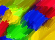 Artistic oil canvas paint in primary colours Stock Photography