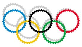 Artistic Olympic circles with shadow isolated Royalty Free Stock Image