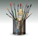 Artistic paint brushes in holder. Paint brushes in holder  on background. Vector illustration Royalty Free Stock Images