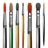 Artistic paint brushes. On the white background. Vector illustration Stock Photos