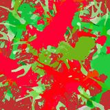 Artistic paint splashes. Bright red and green colorful artistic paint splashes, square format. Abstract Christmas background royalty free illustration