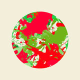 Artistic paint splashes circle. Bright colorful red and green artistic paint splashes in a circle Stock Images