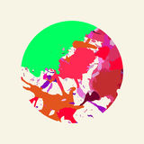 Artistic paint splashes circle. Bright colorful red and green artistic paint splashes in a circle Stock Image