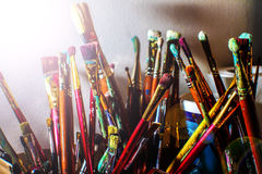 Artistic paintbrushes. The means of self-expression Stock Photography