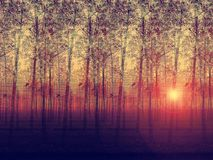 Artistic Painted Depiction Of Landscaped Poplar Tr Stock Image