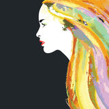 Artistic painted hair Royalty Free Stock Photography