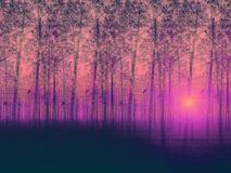 Artistic painted landscape poplar trees. Artwork, illustration of a dream - foggy poplar trees Royalty Free Stock Photography