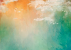 Artistic Painting Background. Artistic abstract watercolor background with clouds and painting texture Stock Photos