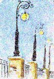 Artistic painting of city lamps in pointilism style Royalty Free Stock Photography