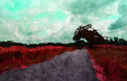Artistic painting the landscape. Artistic abstract fantasy painting the landscape with a path and tree Stock Images