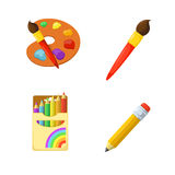Artistic paints and pencils Royalty Free Stock Photos
