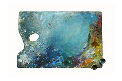 Artistic palette with oil paints - isolated object Stock Photo