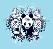 Artistic panda design. Artistic design of panda surrounding by whimsical elements; designed for a t-shirt Royalty Free Stock Images