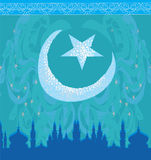 Artistic pattern background with moon and mosque Stock Images