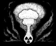 Artistic Pen and Ink Drawing Illustration of Nuclear Explosion. Coming from radioactivity symbol Stock Image