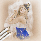 Artistic pencil drawing of a sailor pinup woman Royalty Free Stock Images