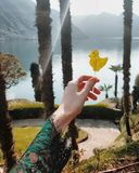 Lollypop view como lake. Artistic photo hand holding lollipop royalty free stock image