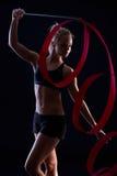 Artistic photo of rhytmic gymnastics Stock Images