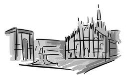 Artistic Piazza del Duomo στο Μιλάνο απεικόνιση αποθεμάτων
