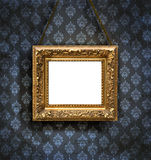 Artistic picture frame on a floral wall Royalty Free Stock Image