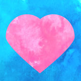 Artistic pink heart symbol on blue watercolor texture background. Vector illustration Stock Images