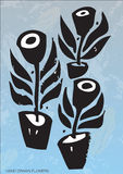 Artistic plants in pots. Artistic silhouetted illustration of black plants in pots with textured blue background stock illustration