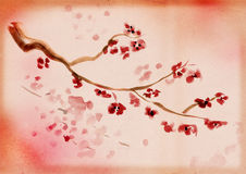 Artistic plum blossom. Ancient Traditional Artistic plum blossom on background a rice-paper stock illustration