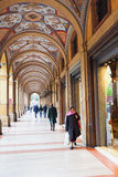 Artistic portico on piazza Cavour in Bologna, Italy Stock Photography
