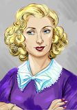 Artistic portrait of a beautiful blond woman in the style of 1950s. Color artistic portrait of an original femalecharacter in 1950s fashion style royalty free illustration