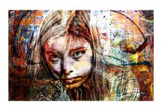 Artistic Portrait Collage of an Intense Young Woman stock image