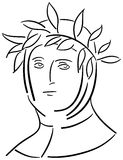 Artistic portrait of Francesco Petrarca isolated Royalty Free Stock Image