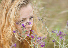 Artistic portrait of freckled woman on natural background Royalty Free Stock Images