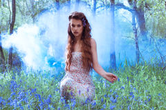 Artistic portrait of a girl in a bluebell forest Stock Photos